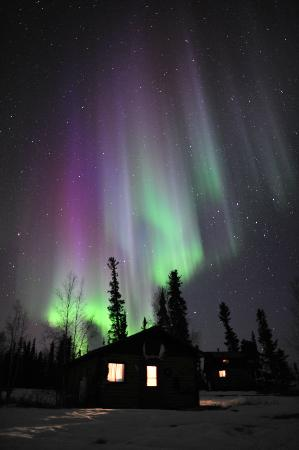 Blachford Lake Lodge: Aurora with Trappers Cabin