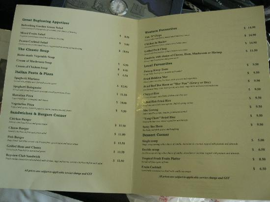 Bayview Hotel Singapore: Menu Card 2