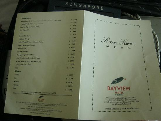 Bayview Hotel Singapore: Food Menu Card