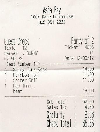 Bay Harbor Islands, FL: The Receipt 2012 Dec 09