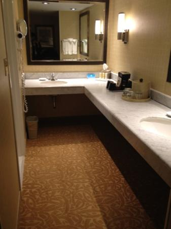 Crowne Plaza Providence-Warwick Airport: massive counter space in bathroom