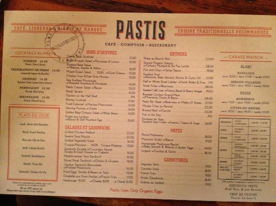 Menu PASTIS NY Picture Of Pastis New York City TripAdvisor