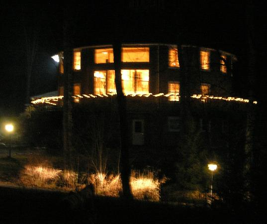 Huntington, VT: The Round Barn, lit up at night