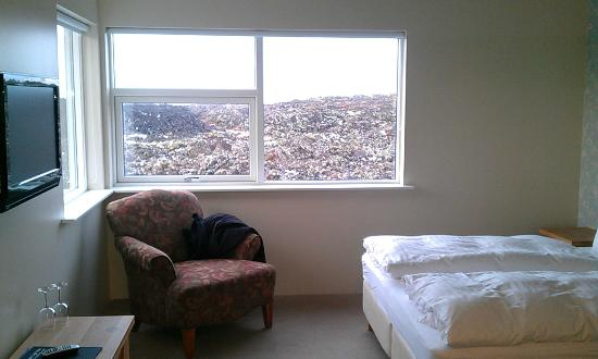 Northern Light Inn: View of lava fields and the room