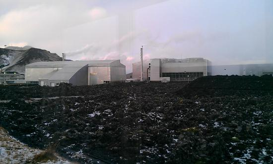 Northern Light Inn: View of power station and lava fields