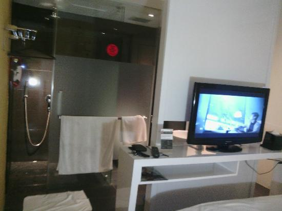 Zoom Inn Boutique Hotel: TV and Bathroom