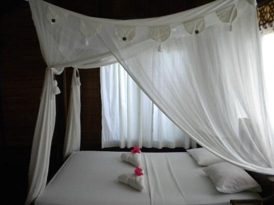 Living Colours Dive Resort: Douple bed with mosquito net