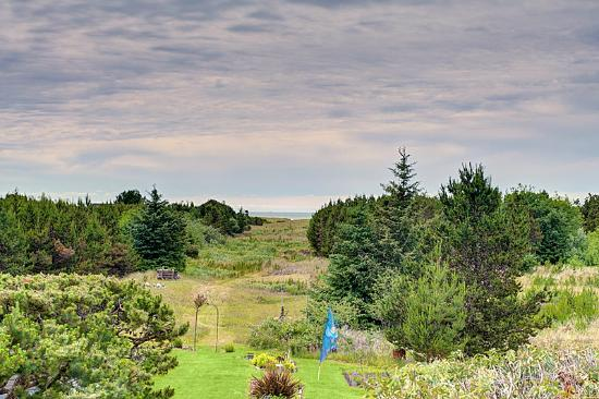 Boreas Bed and Breakfast Inn: The Westward garden view and Boreas' private path to the Beach