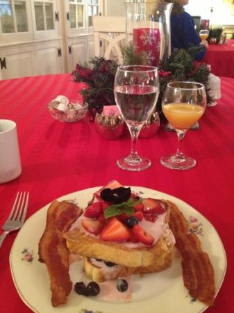 Roughley Manor: killer breakfast - raspberry parfait French toast  yum.