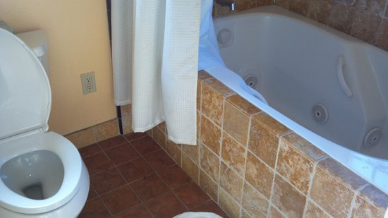 Maison Fleurie - A Four Sisters Inn: Whirlpool tub in Room #12. Mirror, sink to the left.