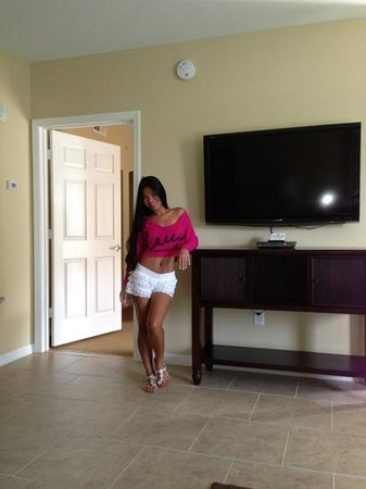 Vacation Village at Parkway: nice flatscreen TV in the living room!