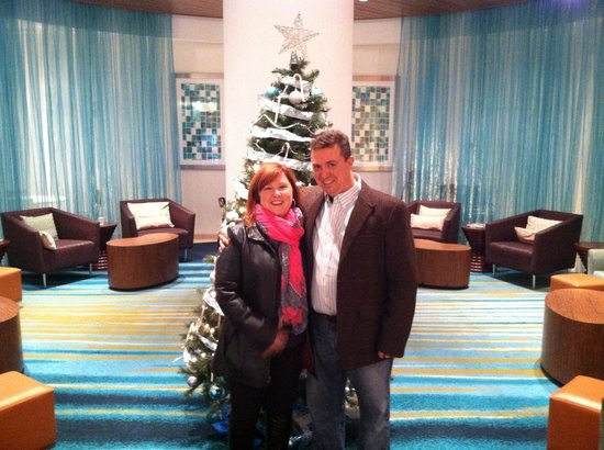 SpringHill Suites Indianapolis Downtown: In front of the Christmas Tree in the lobby.