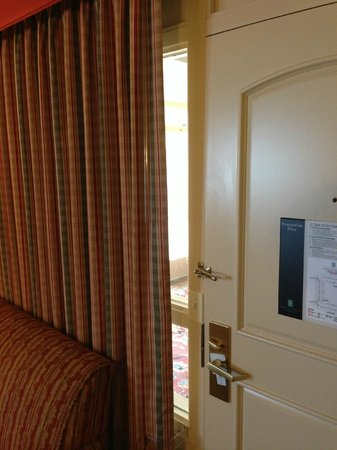Embassy Suites San Francisco Airport: View from inside the room standing in front of TV.  You can see 1/3 of the living room from the