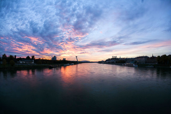 Sunset in Bratislava around Danube river