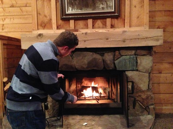 Sundance Resort: Building a fire with provided wood and starters.
