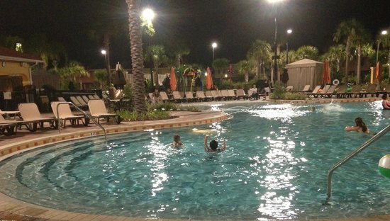 Vacation Villas at Fantasy World I: The warm pool at night