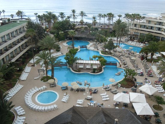 H10 Conquistador: View of hotel pool etc, from our balcony and looking towards the sea
