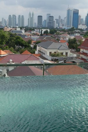 Morrissey: view from pool to Jakarta skyline