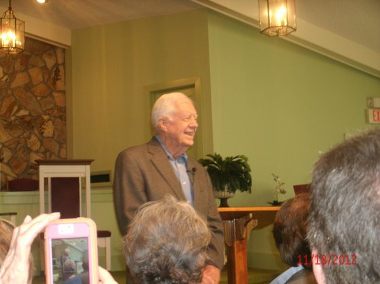 President Carter Greets The Congregation at the Marantha Baptist Church, in Plains Georgia