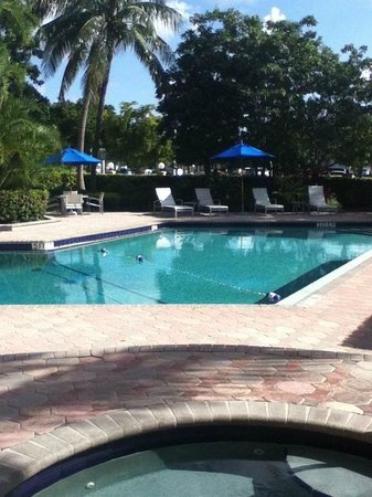 Courtyard by Marriott Fort Lauderdale East: View from the patio of room 101 over the hot tub privacy wall.