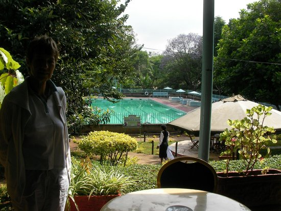 YMCA Nairobi (Central Branch): Swimming pools from the tea veranda.