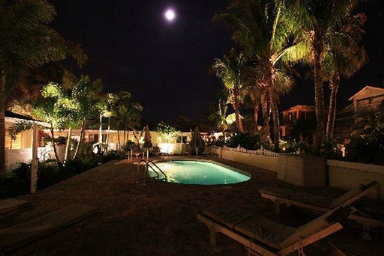 An Island Getaway at Palm Tree Villas : Heated pool at night 