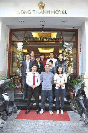 Some staff members at the entrance of the Dong Thanh Hotel
