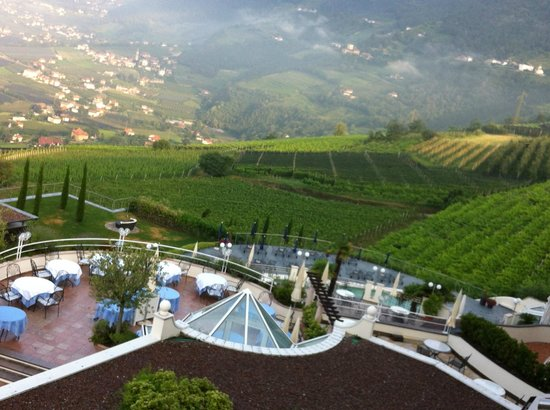 Hotel Castel: View to Pool Area & Vineyards