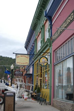 Philipsburg, MT: The front face of Doe Brothers, vintage Victorian architecture