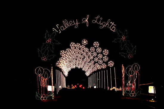 one of the lighted arches in Fain Park