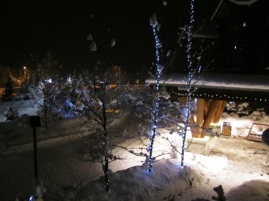 Evolution: Christmas lights and fresh snow view from our room.