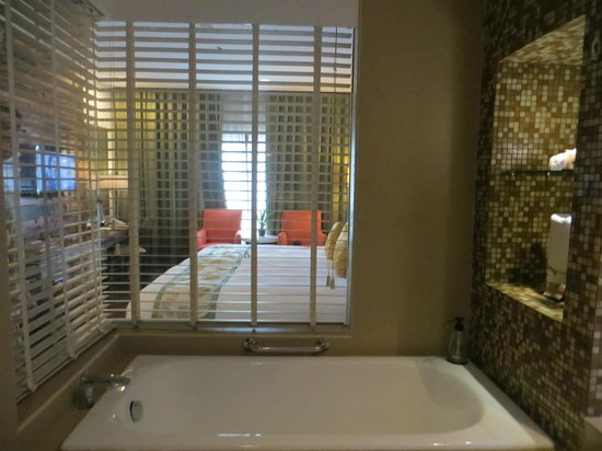 The Cocoon Boutique Hotel: Bathtub. Speaker in ceiling so you could hear television.