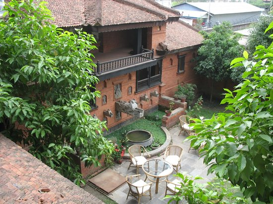 Kantipur Temple House: View of courtyard from second floor