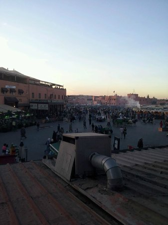 Riad Madina Mayurqa: View of main square Jemaa El Fnaa from a restaurant. This is about a 5 minute walk from the riad