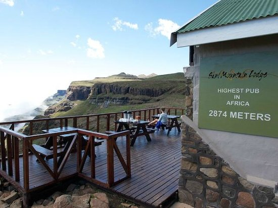 Sani Pass, : Sani Mountain Lodge deck