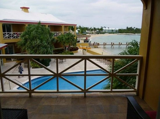 George Town, Great Exuma: Balcony overlooking pool and beach.