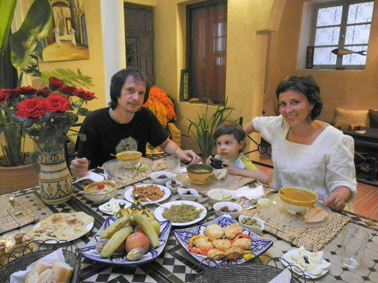 delicious dinner at Riad Zelaka