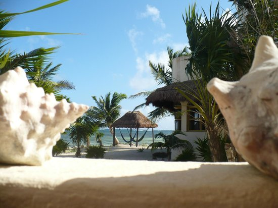 Balamku Inn on the Beach: view from first floor palapa veranda