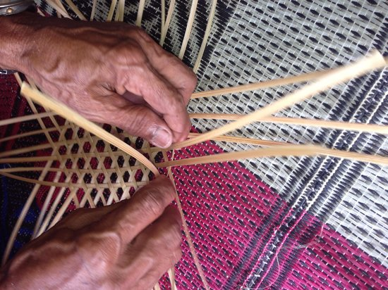 Bali Eco Stay Rice Water Bungalows: Basket weaving in the village