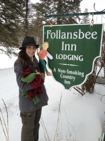 "North Sutton, NH: Posing with ""Flat Stanley"" in front of the Inn"
