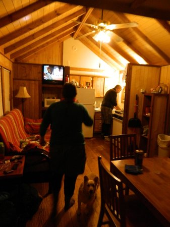 Chama River Bend Lodge: Inside cabin, looking toward kitchen