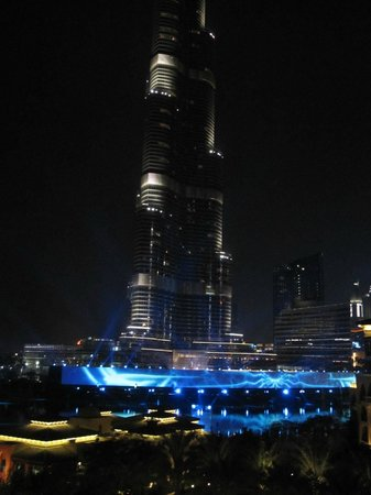 Night view from our room balcony picture of the palace for Burj khalifa room rates per night