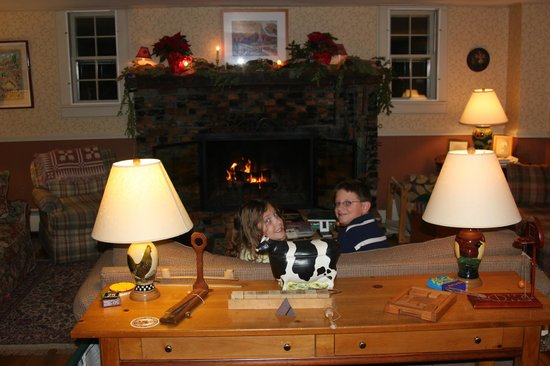 Bridgewater Corners, VT: Enjoying the warm fire in the family room