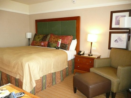 Inverness Hotel and Conference Center: Bed with seating area.  Room also includes a big desk.
