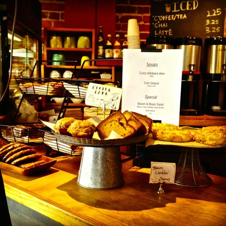White River Junction, VT: Bakery items on display by the counter.