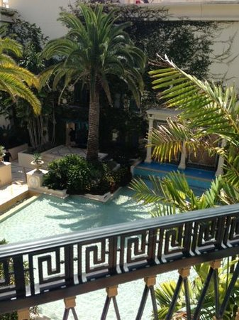 Palazzo Versace: Balcony view overlooking a well groomed lagoon and garden