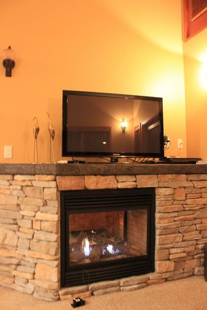 Sunshine Coast Resort Hotel & Marina: Fireplace from living room side