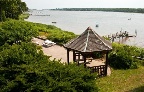 Cove Motel: view from deck of small waterfront rooms