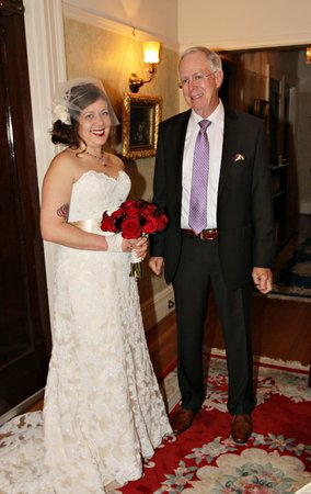 Portland's White House:                   bride and father at top of stairs