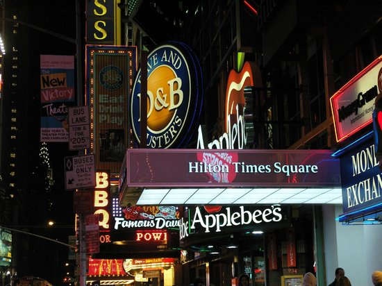 Hilton Times Square: Entrance of Hotel-- right in all the action